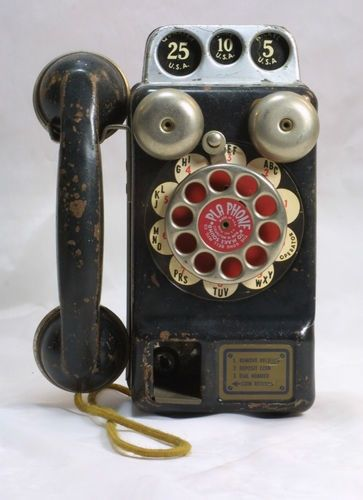 Vintage 1940s Tin Toy PLA Phone Payphone Gong Bell Mfg Co