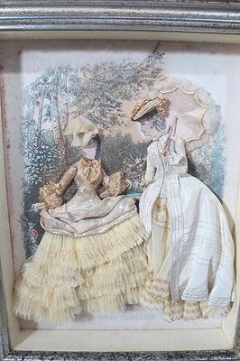 Vintage Antique Victorian La Mode Illustree SHADOW BOX w/Material Dresses