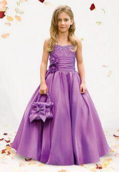 Una línea de satén Novia longitud de vestidos de niña de flool