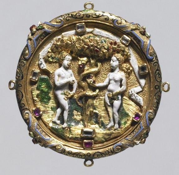 Hat Badge with the Fall of Man English (?) (Artist) PERIOD 1525-1550 (Renaissance) MEDIUM gold, enamel, diamonds, rubies