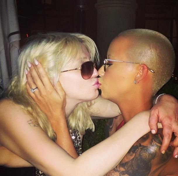 Amber Rose kisses Courtney Love at BET Awards afterparty