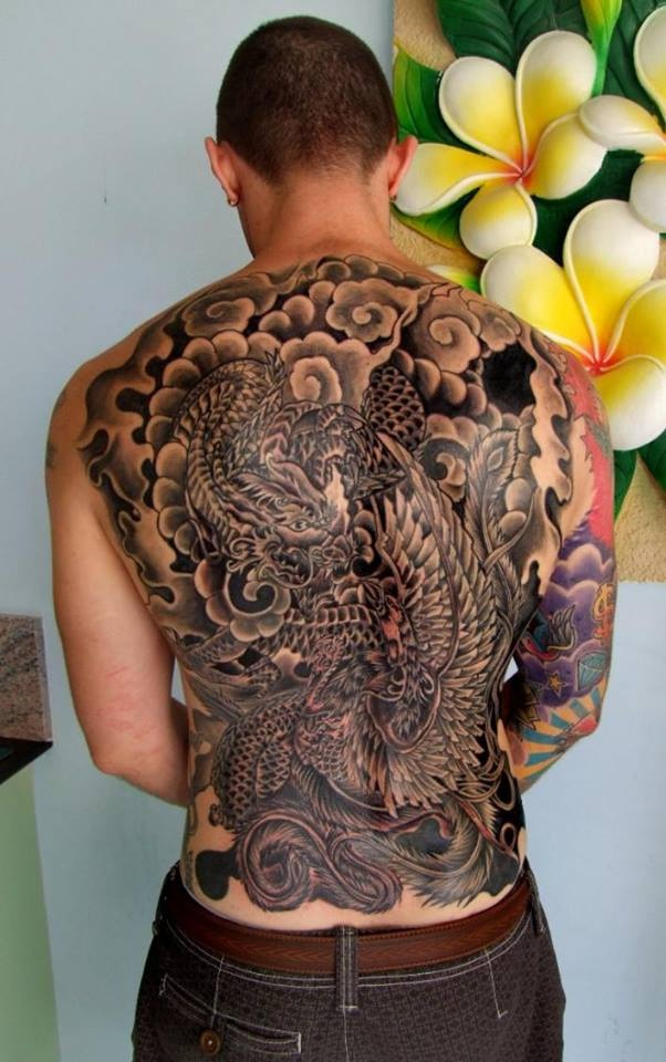 full back dragon and phoenix done by kanthima from tattoo
