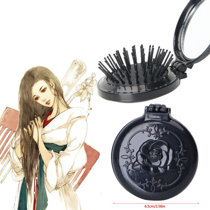 Women Girls Fashion Travel Folding Round Hair Brush With Mirror Pocket Size Comb