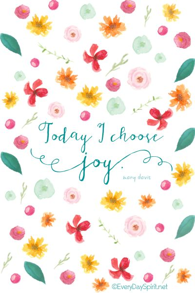"""""""Today I Choose Joy"""" Print. A happy addition to your desk or gift for a friend. On Etsy ~ xo www.everydayspirit.etsy.com"""