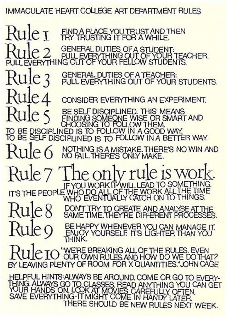 10 Reglas Para Estudiantes, Maestros Y La Vida De John Cage Y La Hermana  Corita Part 69