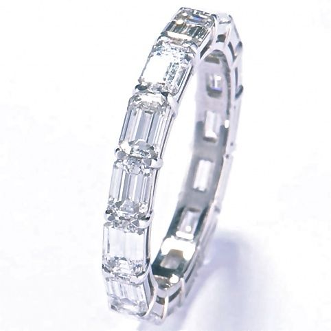 Stuart Moore Collection ~  Eternity band in platinum set with 3.14ct total weight emerald cut diamonds, F/VS