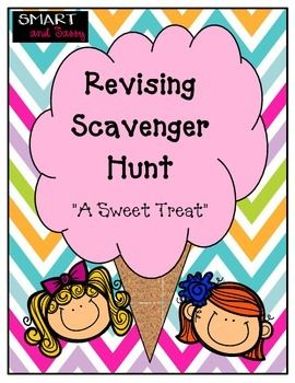 Scavenger Hunt!!! Your kids will be reviewing for testing and not even know it because they are having so much fun! Students must follow the clues that lead them to the next picture and question. This package includes: Full 2 page passage for revising 9 editing questions - adding sentences to support the central idea - adding transition words and phrases - adding a topic sentence to a paragraph - improving word choice in a sentence - combining sentences - deleting extraneous information…