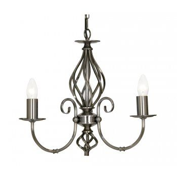 Oaks Lighting TUSCANY traditional antique silver 3 light ceiling pendant