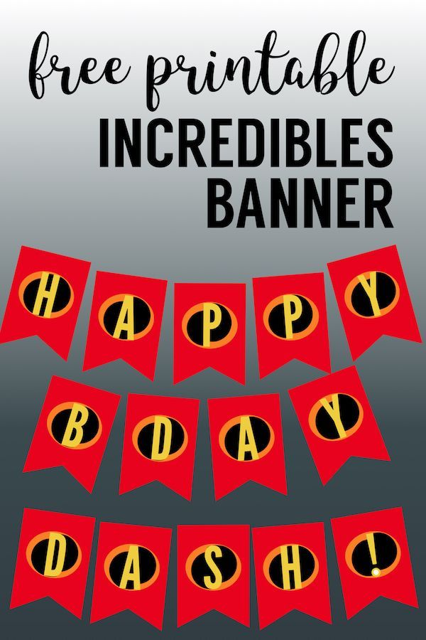 picture regarding Free Printable Birthday Banner Templates named Incredibles Topic Occasion Banner Absolutely free Printable Bash