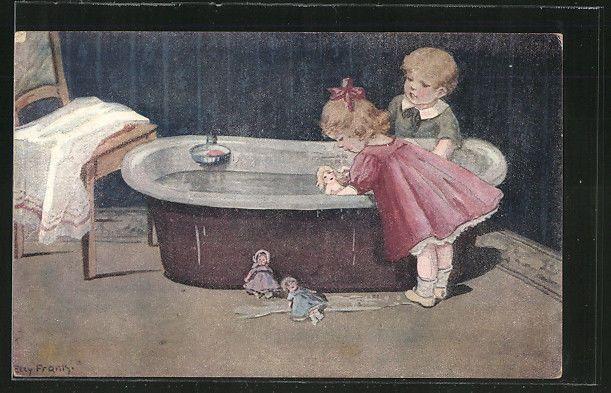 alte Künstler-AK Elly Frank: Mädchen badet ihre Puppe