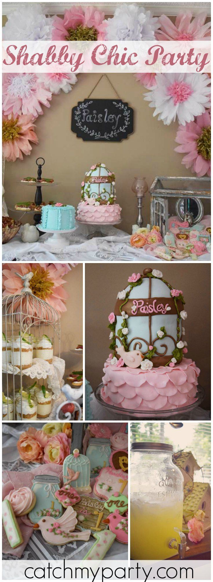 This beautiful shabby chic party celebrates a first birthday! See more party ideas at Catchmyparty.com!