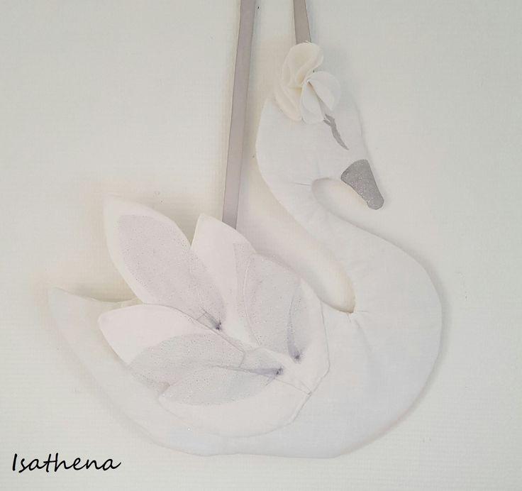 Suspension veilleuse cygne en lin blanc , veilleuse nomade. : Jeux, peluches, doudous par isathena