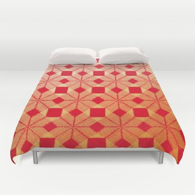 Fire Duvet Cover by Gréta Thórsdóttir - $99.00 #scandinavian #snowflake #heat, #passion #red #gold #pattern #bedroom