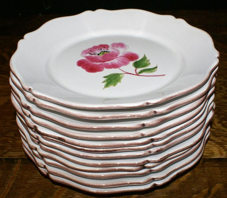 12 Vintage Tiffany Plates Hand Painted by Motton France * All Different Flowers