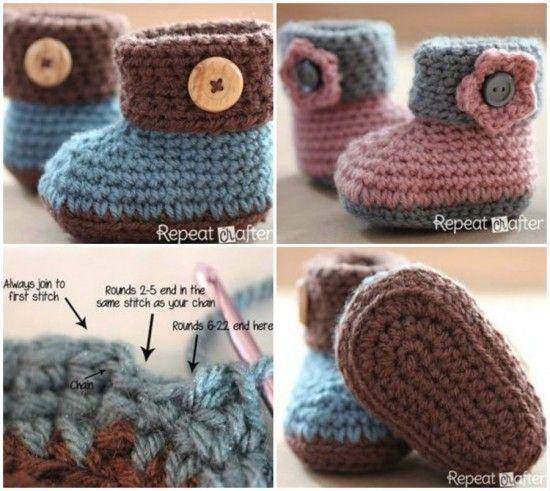 Crochet Cuffed Baby Booties FREE Pattern