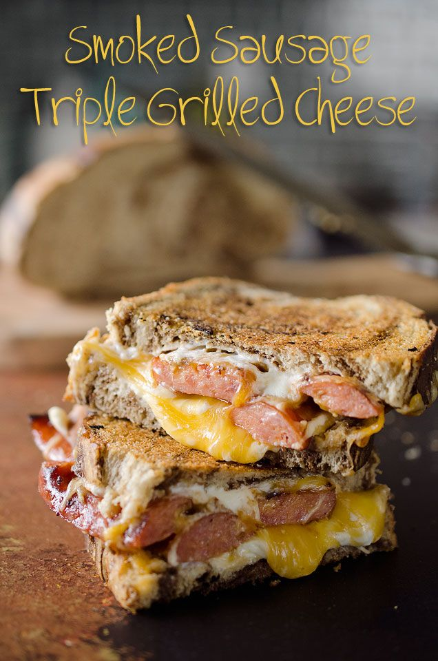 Smoked Sausage Triple Grilled Cheese is a sandwich with sausage and gouda, cheddar and cream cheese layered between marble rye bread for a rich grilled cheese