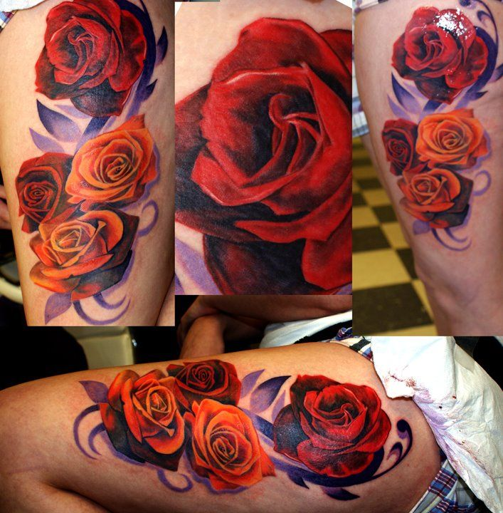 These Roses are mind blowing. I love tattoos that have no outline and are only colors.