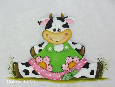 pano de copa com pintura de vaquinha country com vestido floral