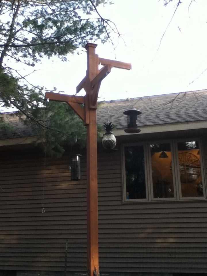 A Very Tall Bird Feeder Holder We Made For My Mom For Her