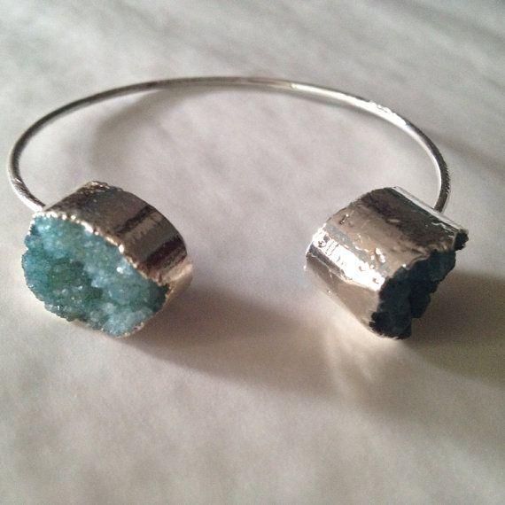 Silver tone druzy cuff bangle bracelet on Etsy, $25.00