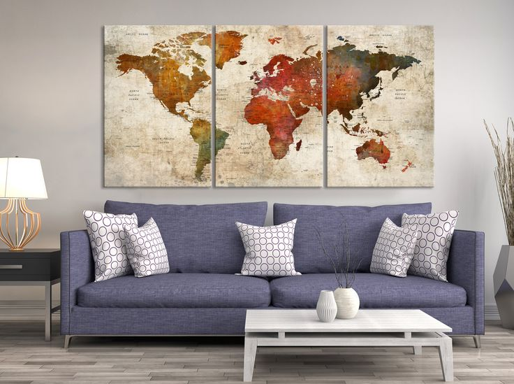 Mejores 25 imgenes de push pin world map canvas en pinterest mapa push pin world map canvas print triptych wall art watercolor world map canvas print gumiabroncs Choice Image