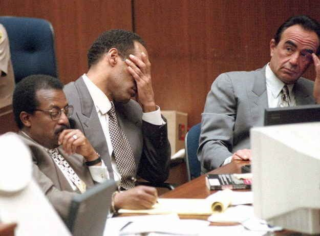 Cochran, Simpson, and Shapiro (from left to right) listening to the prosecution.