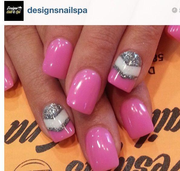 Pink, silver & white nail art design