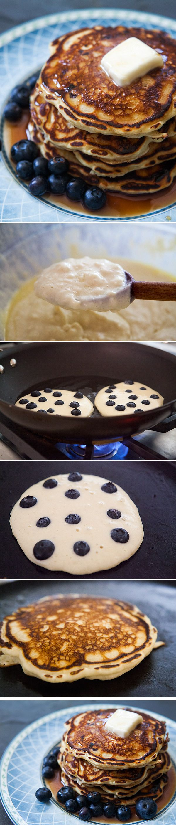 Blueberry Buttermilk Pancakes ~ Light and fluffy buttermilk pancakes loaded with blueberries! So easy, the perfect #NewYears pancake breakfast! ~ SimplyRecipes.com