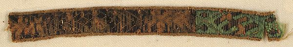 Fragment of Ribbon Date: 13th–14th century Culture: Italian Medium: ? with silver gilt thread Dimensions: Overall: 2 13/16 × 5/16 in. (7.2 × 0.8 cm) Storage (Mat): 4 1/2 × 13 in. (11.4 × 33 cm) Classification: Textiles-Woven Credit Line: Rogers Fund, 1918 Accession Number: 19.191.2