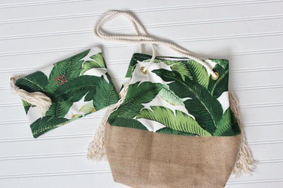 Verde Palma impresión embrague Bikini Bolsa regalo de la