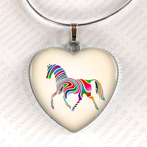 Rainbow Horse Heart Pendant, Horse Jewelry, Horse Necklace, Birthday, Charm, Horse Lady Gift, Gifts for Girl, Horse Lover, Zebra Necklace