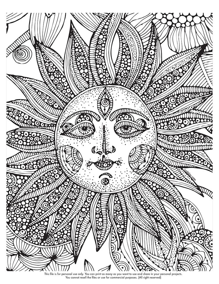 Psychedelic Sun Coloring Pages For Adults Weed