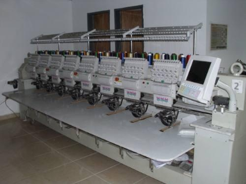 máquinas bordadoras cama plana y cilindricas de 2,6,8 cabezotes, 12 agujas en cada cabeza