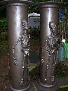 If you're looking to make a creepy entrance to your haunt you may want to take a look at the Skeletal Sonotube Columns tutorial that Effie posted at HalloweenFo