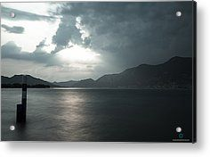 Stormy Sunset On The Lake Acrylic Print by Cesare Bargiggia