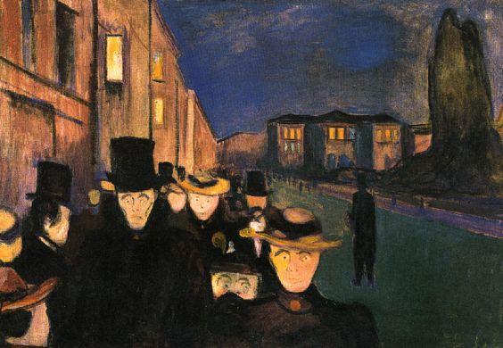 Atardecer en el paseo Karl Johann (1892) Munch
