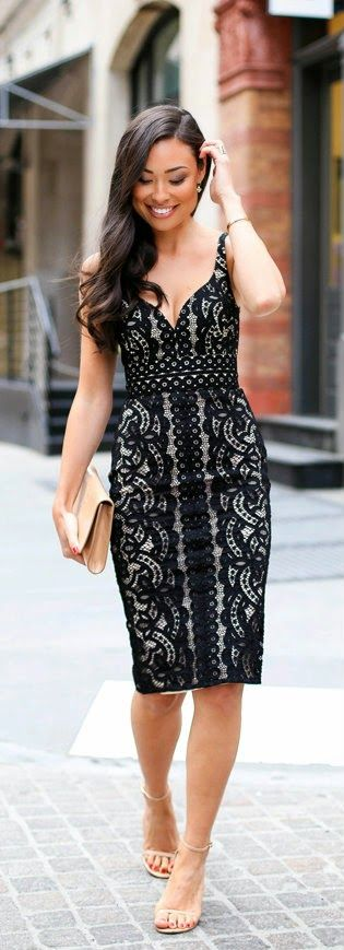Black Lace Dress with Nude Sandal and Leather Clutch / With Love From Kat