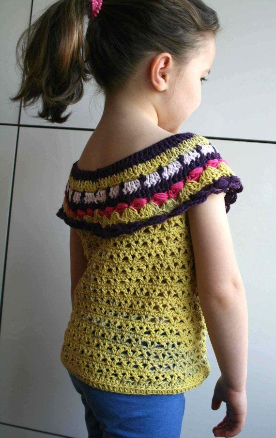 Crochet pattern crochet girls top pattern by LuzPatterns on Etsy
