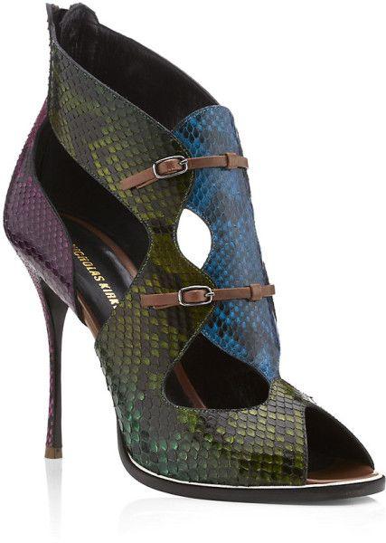 Nicholas Kirkwood Multicolor Esthwaite Snakeskin Sandal €1,282 #Shoes #Heels