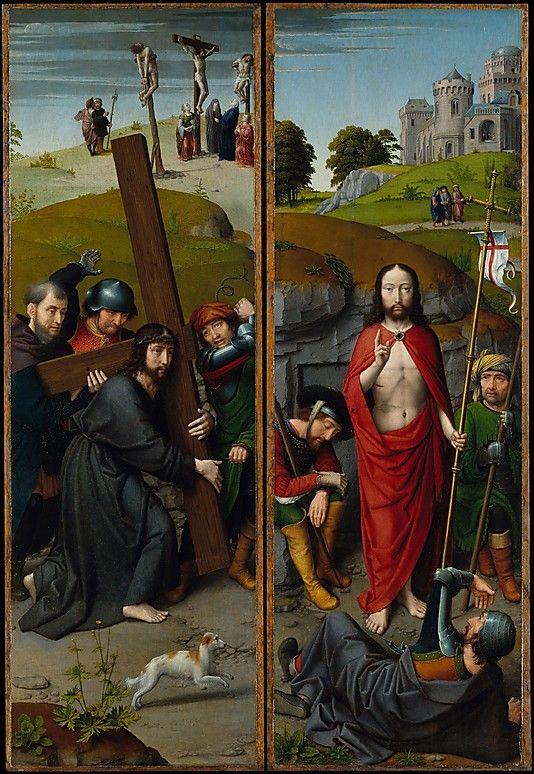 Gerard David - twee panelen van een altaarstuk, met links: Christus draagt het kruis (achtergrond: de kruisiging) en rechts de opstanding (achtergrond: de Emmausgangers) ca. 1510