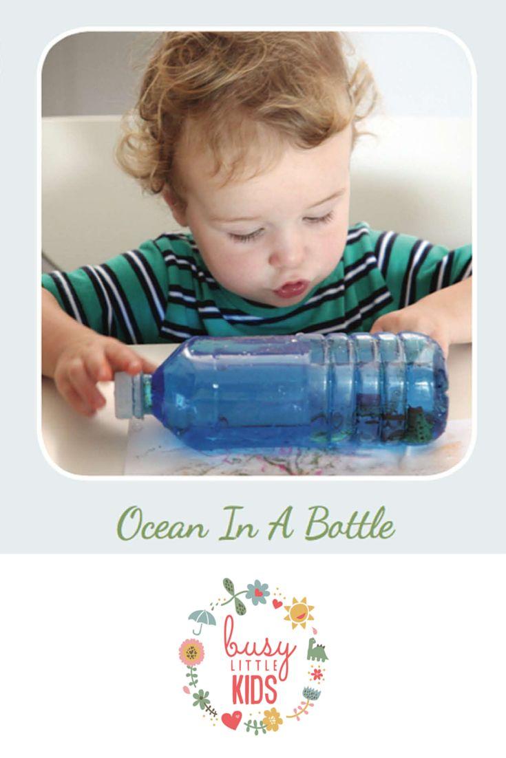 Fun, simple, easy rainy day kids activity - Ocean in a Bottle