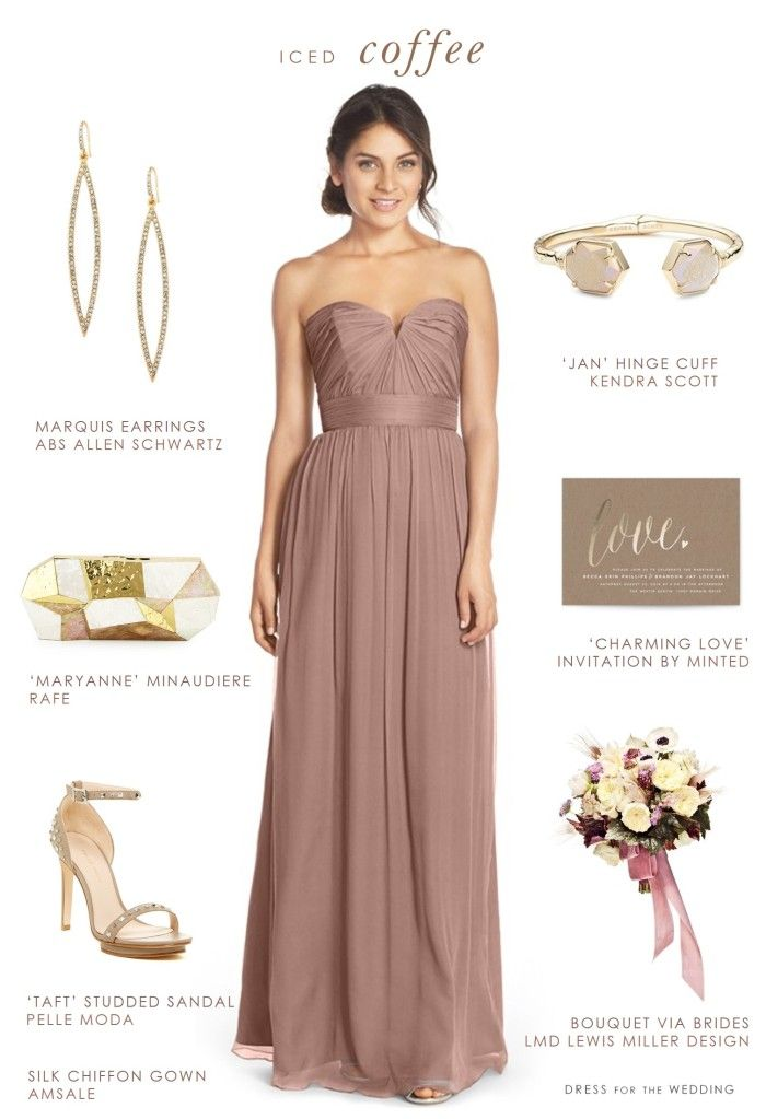 Beige bridesmaid dress and accessories