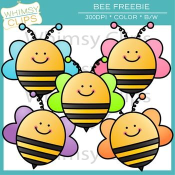 FREE- bee clip art freebie. High-resolution clip arty by Whimsy Clips.