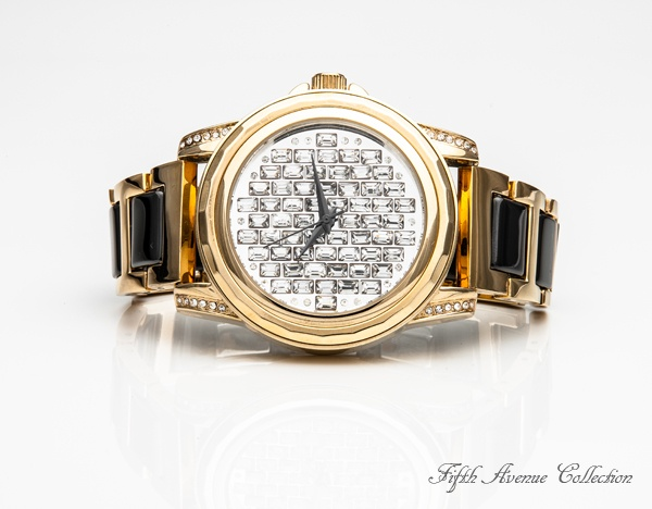 All Time Favourite watch - Glamour goes casual with this striking watch encrusted with Swarovski's brilliant baguette crystal, encircled with black ceramic. Perfectly matched for chic and casual! #FifthAvenueCollection #watch #fashionwatch #timepiece #fashion #jewellery