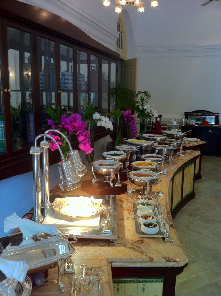 Indian buffet in Tiffin Room in Raffles Singapore.