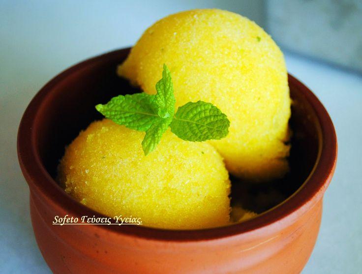 Σορμπέ παγωτό με μάνγκο και δυόσμο (χωρίς ζάχαρη). Συνταγές για διαβητικούς Sofeto Γεύσεις Υγείας.