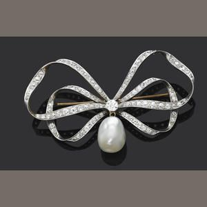 An antique pearl and diamond bow brooch
