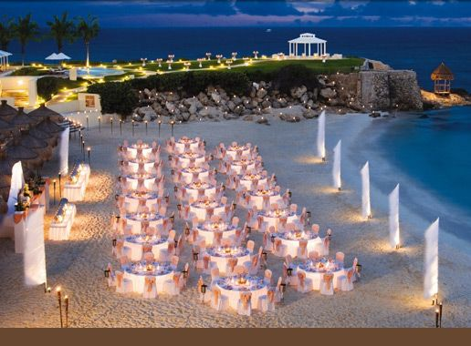 I like the separation of the ceremony location and reception. I also like the tiki torches