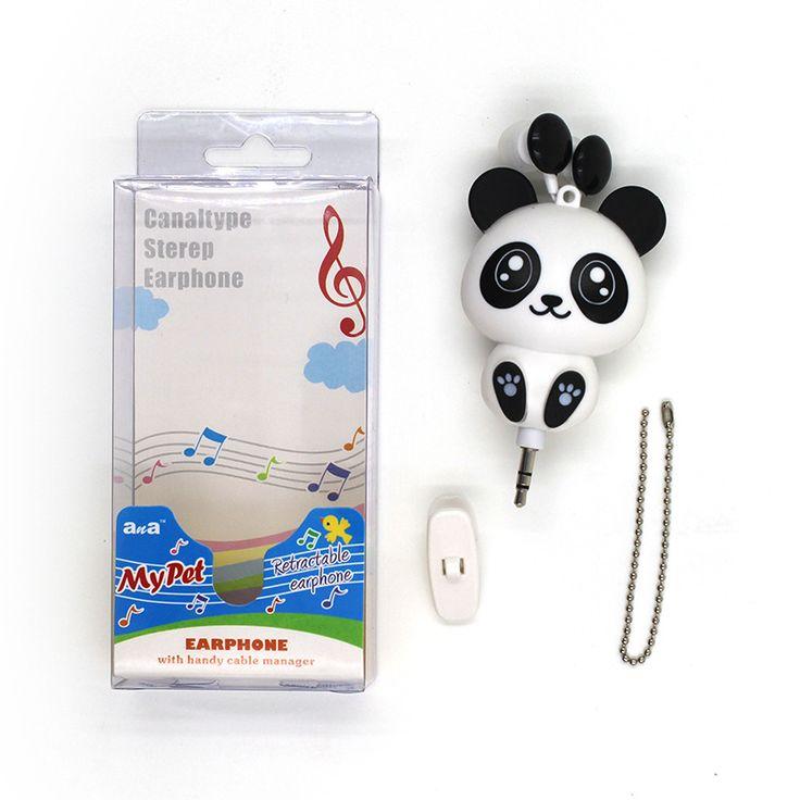 Chat Panda Casque Automatique Rétractable Fone de Ouvido Musique Casque Chat de Bande Dessinée Écouteurs Cadeau Écouteurs pour les Enfants et filles