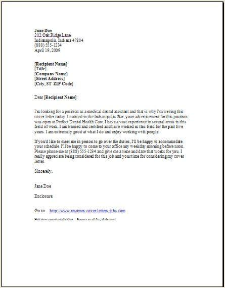 dental hygiene resume cover letter
